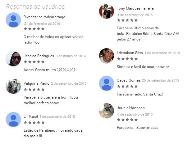 Na loja Android, o aplicativo da Rádio Santa Cruz é só elogios!