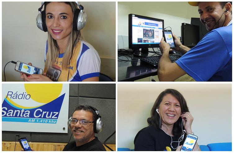 Equipe da Rádio Santa Cruz ouve a programação por meio do app da emissora
